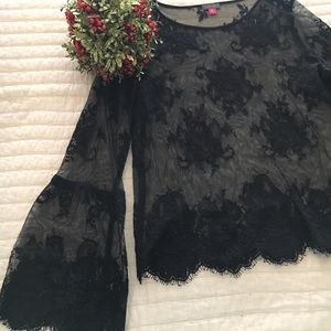 Lace blouse with beautiful dramatic sleeve!